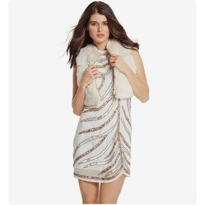 White gold silver sequin Marciano Dress M 6 8 NWT